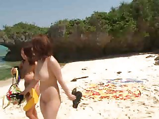 Asian Big Boobs Threesome on the Beach