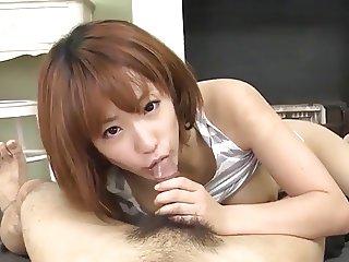 Cute Japanese giving blowjob and footjob