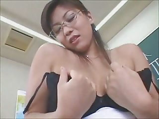 Sexy Japanese Teacher ends with Pantie Cum shot