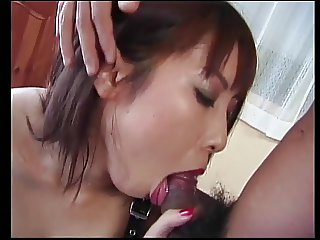 Young tattooed asian in fishnets loves vibrators and eating facial loads