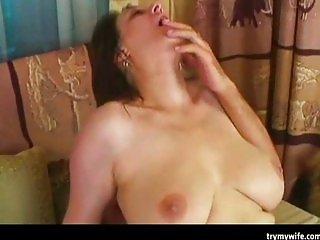 Slutty MILF loves jizz on her boobs