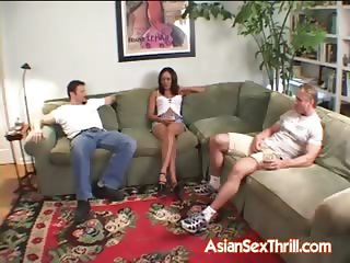 Asian in for threesome