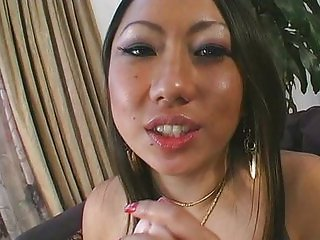 Asian chick tasting her creampied pussy