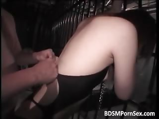 Asian brunette slut is trapped in cage part1
