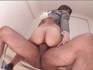 Japanese nympho in stocking has wild threesome with big dicks