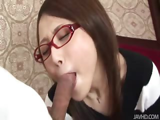 Rino is taken by her boyfriend and banged on the bed until her hairy pussy is creamy
