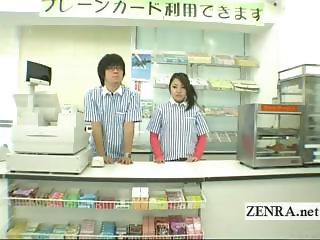 Subtitles weird Japanese bottomless nudists in a store