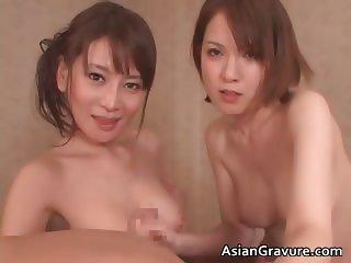 Gorgeous asian brunette babes suck stiff part2