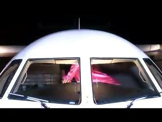Fucking two hot stewardesses on the plane