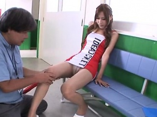 Beautiful race queen gives a wet blow job and steamy footjob