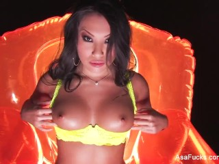 Asa Akira toys her tight Asian ass