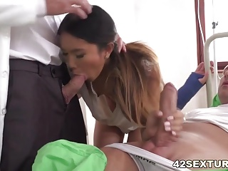 Asian slutty nurse Mai Thai got double penetrated