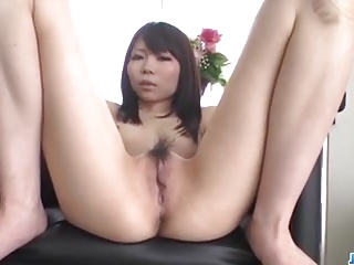 Airi Sasaki, amateur doll, spreads legs for a big dick