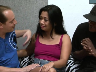 Raunchy gangbang session with an Asian MILF