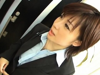 Yukino in uniform gives blowjob to mailman and gets cum on